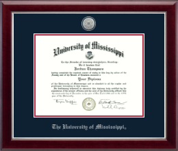 The University of Mississippi Diploma Frame - Silver Engraved Medallion Diploma Frame in Gallery Silver