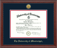 The University of Mississippi Diploma Frame - Gold Engraved Medallion Diploma Frame in Signature