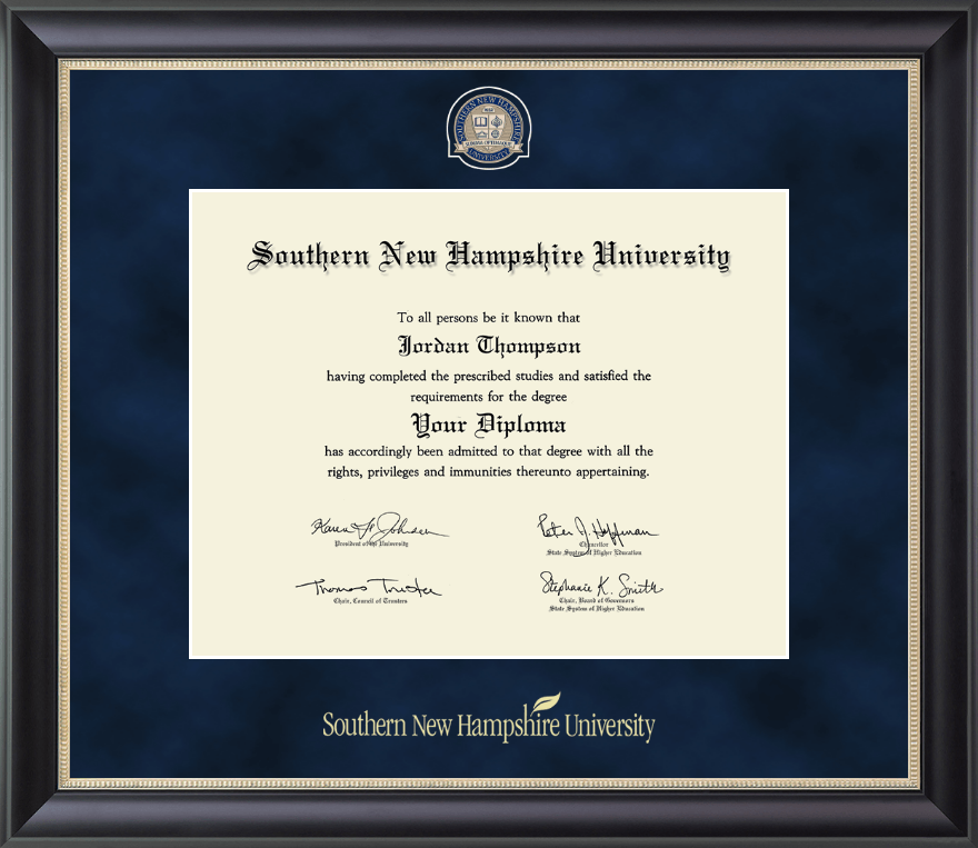 Southern New Hampshire University PhD Regal Edition Diploma Frame In Noir Item 277570 From