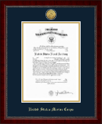 United States Naval Academy Certifcate Frame - Gold Engraved Medallion Certificate Frame in Sutton