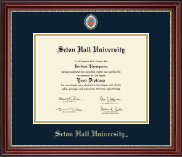 Seton Hall University Diploma Frame - Masterpiece Medallion Diploma Frame in Kensington Gold