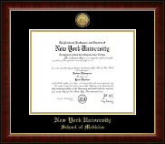 New York University Diploma Frame - Gold Engraved Medallion Diploma Frame in Murano