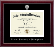 Indiana University of Pennsylvania Diploma Frame - Silver Engraved Medallion Diploma Frame in Gallery Silver