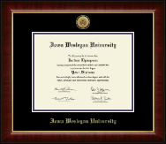 Iowa Wesleyan University Diploma Frame - Gold Engraved Medallion Diploma Frame in Murano