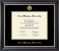 Iowa Wesleyan University Diploma Frame - Gold Engraved Medallion Diploma Frame in Noir