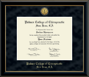 Palmer College of Chiropractic San Jose Diploma Frame - Gold Engraved Medallion Diploma Frame in Onyx Gold
