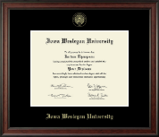 Iowa Wesleyan University Diploma Frame - Gold Embossed Diploma Frame in Studio
