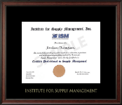 Institute for Supply Management Certifcate Frame - Gold Embossed Certificate Frame in Studio