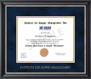 Institute for Supply Management Certificate Frame - Gold Embossed Certificate Frame in Noir