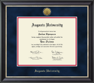 Augusta University Diploma Frame - Gold Engraved Medallion Diploma Frame in Noir