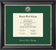 Lincoln Trail College Diploma Frame - Silver Engraved Medallion Diploma Frame in Noir