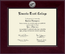 Lincoln Trail College Diploma Frame - Century Silver Engraved Diploma Frame in Cordova