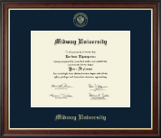 Midway University Diploma Frame - Gold Embossed Diploma Frame in Studio Gold