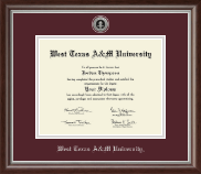 West Texas A&M University Diploma Frame - Silver Engraved Medallion Diploma Frame in Devonshire