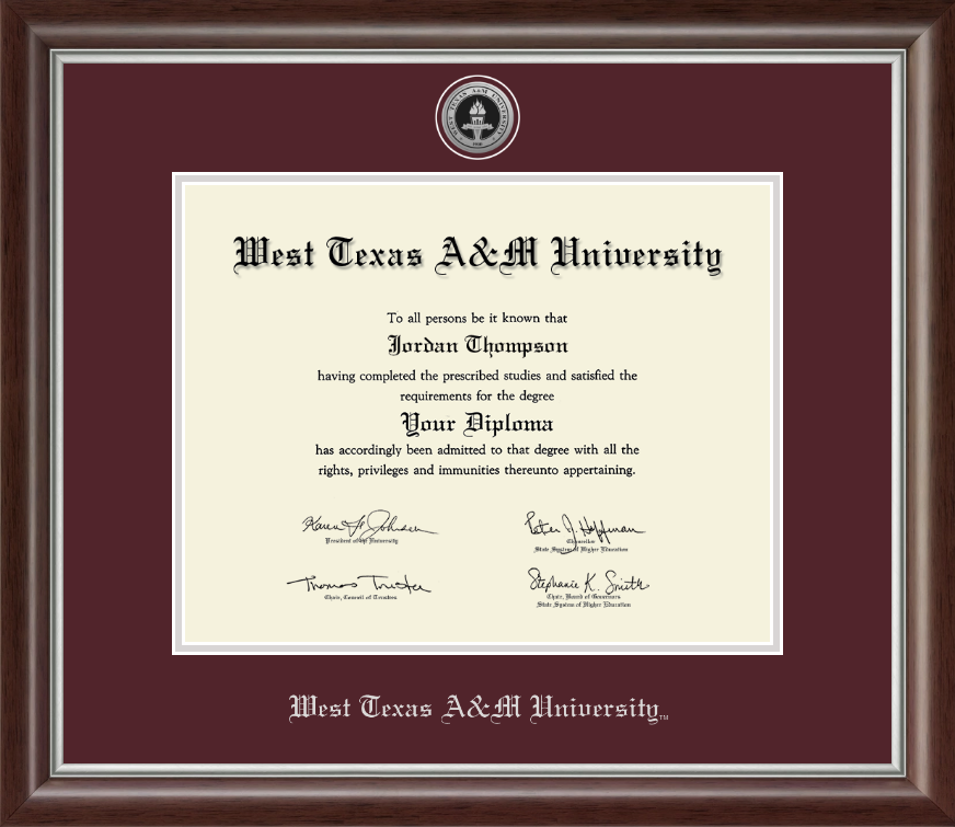 West Texas A&M University Silver Engraved Medallion Diploma Frame in ...