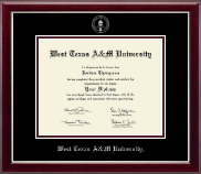West Texas A&M University Diploma Frame - Silver Embossed Diploma Frame in Gallery Silver