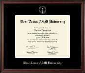 West Texas A&M University Diploma Frame - Silver Embossed Diploma Frame in Studio
