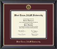 West Texas A&M University Diploma Frame - Gold Engraved Medallion Diploma Frame in Noir