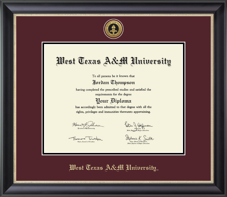 West Texas A Amp M University Gold Engraved Medallion Diploma