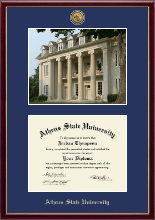 Athens State University Diploma Frame - Gold Engraved Medallion Campus Scene Diploma Frame in Galleria