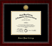 Saint Paul College Diploma Frame - Gold Engraved Medallion Diploma Frame in Sutton