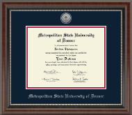 Metropolitan State University of Denver Diploma Frame - Silver Engraved Medallion Diploma Frame in Chateau
