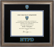 Police Department City of New York Certificate Frame - Dimensions Certificate Frame in Easton