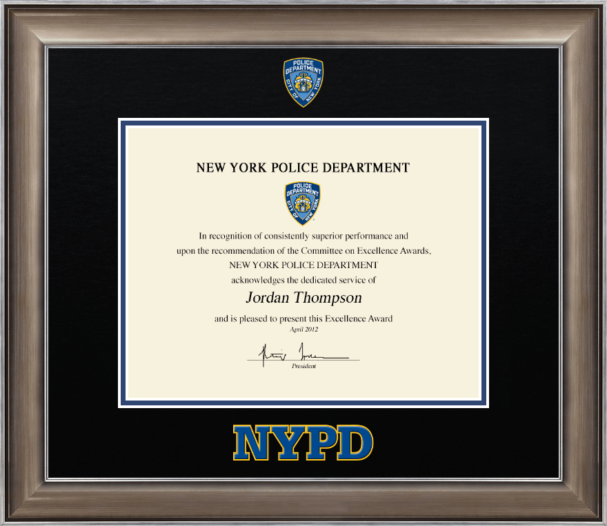 Police Department City of New York Dimensions Certificate Frame in ...