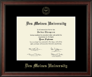 Des Moines University Diploma Frame - Gold Embossed Diploma Frame in Studio