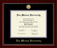 Des Moines University Diploma Frame - Gold Engraved Medallion Diploma Frame in Sutton