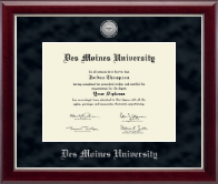Des Moines University Diploma Frame - Silver Engraved Medallion Diploma Frame in Gallery Silver
