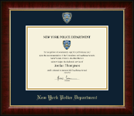 Police Department City of New York Certificate Frame - Masterpiece Medallion Certificate Frame in Murano
