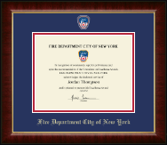 Fire Department City of New York Certificate Frame - Masterpiece Medallion Certificate Frame in Murano