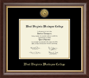 West Virginia Wesleyan College Diploma Frame - Gold Engraved Medallion Diploma Frame in Hampshire