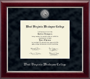 West Virginia Wesleyan College Diploma Frame - Silver Engraved Medallion Diploma Frame in Gallery Silver