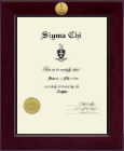 Sigma Chi Certificate Frame - Century Gold Engraved Certificate Frame in Cordova