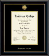 Louisiana College Diploma Frame - Gold Engraved Medallion Diploma Frame in Onyx Gold