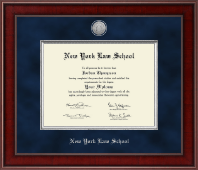 New York Law School Diploma Frame - Presidential Silver Engraved Diploma Frame in Jefferson