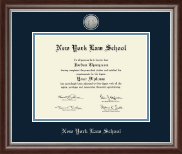 New York Law School Diploma Frame - Silver Engraved Medallion Diploma Frame in Devonshire