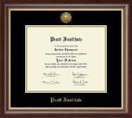 Pratt Institute Diploma Frame - Gold Engraved Medallion Diploma Frame in Hampshire