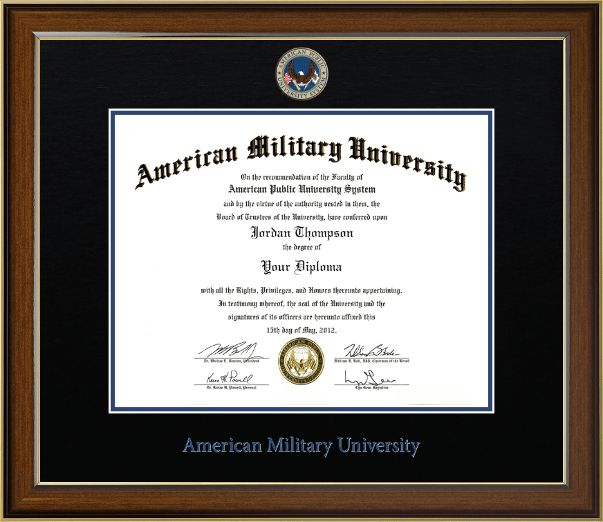 American Military University Dimensions Diploma Frame In