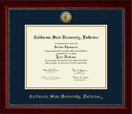 California State University Fullerton Diploma Frame - Gold Engraved Medallion Diploma Frame in Sutton