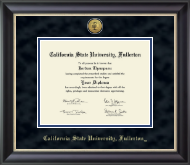 California State University Fullerton Diploma Frame - Gold Engraved Medallion Diploma Frame in Noir