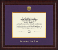 College of the Holy Cross Presidential Gold Engraved Diploma Frame in Premier