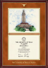 The University of Texas Austin Diploma Frame - Campus Scene Diploma Frame in Kensington Gold