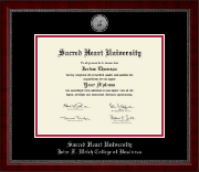 Sacred Heart University Diploma Frame - Silver Engraved Medallion Diploma Frame in Sutton