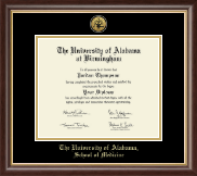 The University of Alabama at Birmingham Diploma Frame - Gold Engraved Medallion Diploma Frame in Hampshire