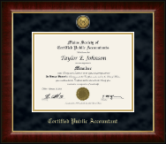 Maine Society of Certified Public Accountants Certificate Frame - Gold Engraved Medallion Certificate Frame in Murano