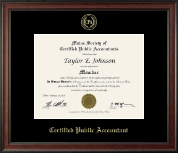 Maine Society of Certified Public Accountants Certificate Frame - Gold Embossed Certificate Frame in Studio