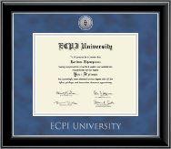 East Coast Polytechnic Institute University Diploma Frame - Silver Engraved Medallion Diploma Frame in Onyx Silver